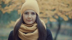 Portrait of a beautiful girl in a park in autumn Royalty Free Stock Images