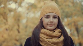 Portrait of a beautiful girl in a park in autumn Royalty Free Stock Photo