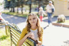 Portrait of a beautiful girl in the park Stock Image