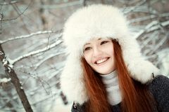 Portrait of beautiful girl in park Stock Photos