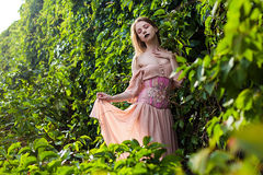 Portrait of beautiful girl in pastel pink dress and corset and flower emboidery. Posing in green climbing vines royalty free stock images