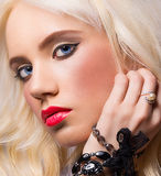 Portrait of beautiful girl with perfect makeup Royalty Free Stock Photography