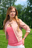 Portrait of the beautiful girl in pink Royalty Free Stock Photography
