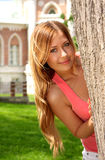 Portrait of the beautiful girl in pink Stock Photos