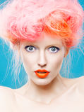 Portrait of beautiful girl with pink hair Royalty Free Stock Image
