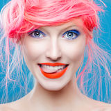 Portrait of beautiful girl with pink hair Royalty Free Stock Photo
