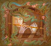 Dreamful melody. Oil painting on wood. Stock Image