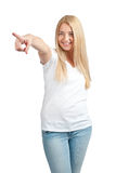 Portrait of beautiful girl pointing Stock Photos