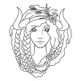 Portrait of a beautiful girl. With flaming hair and horns. Seasonal illustration. Coloring page Royalty Free Stock Image