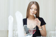 Portrait of beautiful girl posing in restaurant Stock Photos