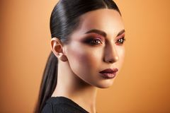 Portrait of beautiful girl professional make-up artist stock images