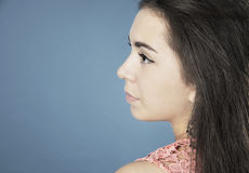 Portrait of beautiful girl in profile. Royalty Free Stock Images