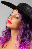 Portrait of beautiful girl with purple hair Stock Image