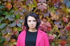 Portrait of a beautiful girl in a red coat. In an autumn park Royalty Free Stock Images