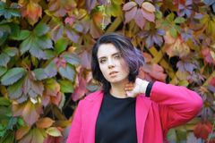 Portrait of a beautiful girl in a red coat. In an autumn park Stock Image