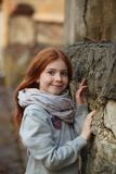 Portrait of a beautiful girl with red hair and freckles stock images