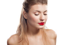 Portrait of a beautiful girl with red lips. And professional makeup, studio Stock Photography