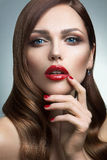 Portrait of beautiful girl with red lips. Royalty Free Stock Image