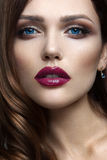 Portrait of beautiful girl with red lips. Royalty Free Stock Photography