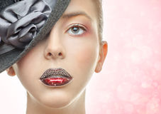 Portrait of the beautiful girl with a red lipstick Stock Images