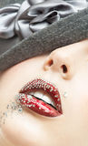 Portrait of the beautiful girl with a red lipstick Royalty Free Stock Photos