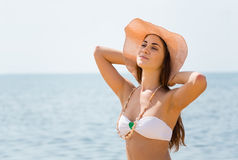 Portrait of beautiful girl resting on the beach Royalty Free Stock Images