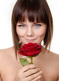 Portrait of beautiful girl with rose Stock Images
