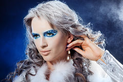 Portrait of beautiful girl's fantasy make-up Stock Photos