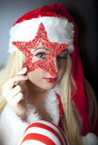Portrait of beautiful girl with santa clothes Stock Photos