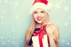 Portrait of beautiful girl with santa hat. Royalty Free Stock Image