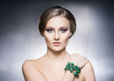 Portrait of beautiful girl in shiny jewels Stock Image