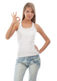 Portrait of beautiful girl showing OK sign Stock Image