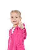 Portrait of a beautiful girl showing thumbs up Stock Photography