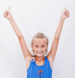 Portrait of a beautiful girl showing thumbs up on Royalty Free Stock Photo