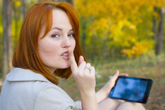 Portrait of beautiful girl with the smartphone Stock Photography