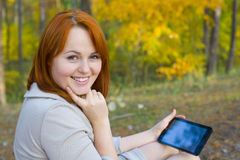 Portrait of beautiful girl with the smartphone Royalty Free Stock Photo