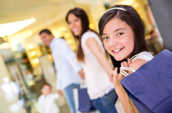 Family shopping at the mall Stock Images