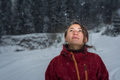 Portrait of beautiful girl in the snow Royalty Free Stock Images