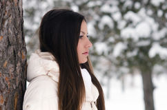Portrait of the beautiful girl on snowy winter day Royalty Free Stock Photography