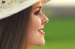 Portrait of the beautiful girl in spring nature Royalty Free Stock Images