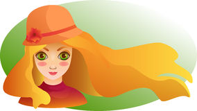 Portrait of Beautiful girl with streaming hair. Spring wallpaper. Cartoon drawn portrait of beautiful smiling girl with streaming blond hair in a cute hat royalty free illustration