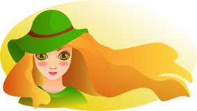Portrait of Beautiful girl with streaming hair. Summer wallpaper. Cartoon drawn portrait of beautiful smiling girl with streaming blond hair in a cute hat stock illustration