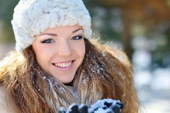 Portrait of a beautiful girl on the street in winter.  Royalty Free Stock Image