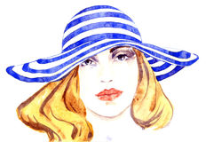 Portrait of a beautiful girl in striped hat. Hand painted watercolor fashion illustration, Portrait of a beautiful girl in striped hat Royalty Free Stock Image