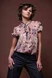 Portrait of beautiful girl. Studio. Fashion portrait of beautiful young brunette girl Royalty Free Stock Images