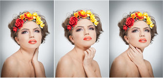 Portrait of beautiful girl in studio with yellow and red roses in her hair and naked shoulders. young woman Royalty Free Stock Photo