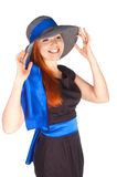 Portrait of a beautiful girl in a summer hat Stock Photography