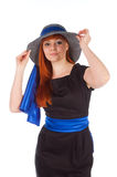 Portrait of a beautiful girl in a summer hat Royalty Free Stock Photography