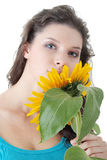 Portrait of a Beautiful girl with sunflower Stock Image