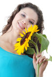 Portrait of a Beautiful girl with sunflower Stock Photography